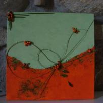 Orange et vert, petit tableau avec collages