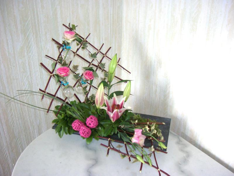 quadrillages composition florale rose et verte cr ation. Black Bedroom Furniture Sets. Home Design Ideas
