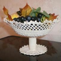 Corbeille a fruits blanche au crochet