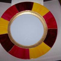 Assiette Tendance, peinture porcelaine rouge, jaune et or