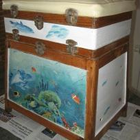 Caisse à pêche au décor aquarium