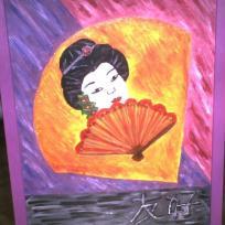 Visage d'une Geisha, peinture acrylique sur toile