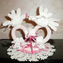 Porte Alliances aux  2 colombes blanc et rose