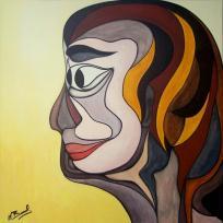 Songeuse, portrait abstrait à l'acrylique sur toile