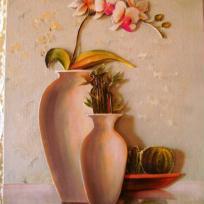 Mon Orchidée dans vase orangé