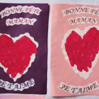 """Carte fête des mères - """"Je t'aime"""" rose et violet"""
