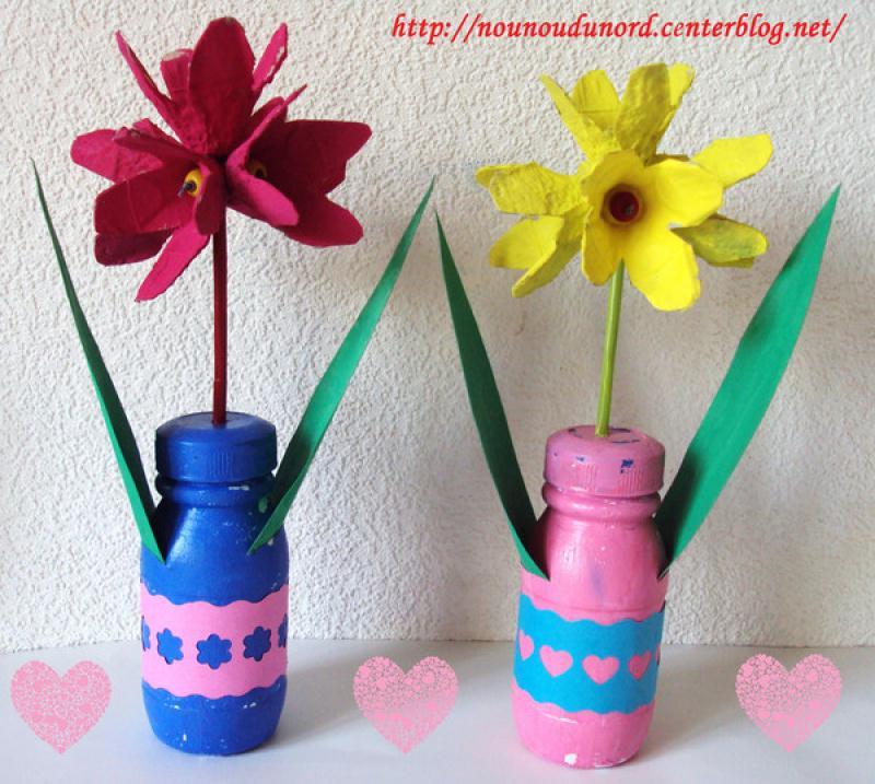 Fleurs r alis es avec des bo tes oeufs cr ation concours f te des m res de nounoudunord n Bricolage printemps objets naturels idees
