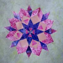 Mandala bleu et carrés vichy roses