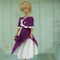 Barbie robe année 50 en crochet violet et blanc