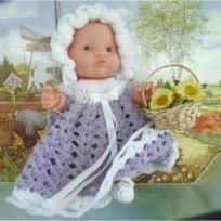 Robe en laine layette blanche et violine