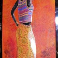 Femme Africaine 3D  et son plateau sur la tête