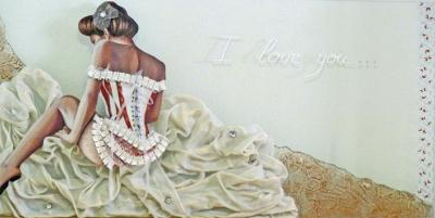 Tableau romantique sur plaque de plexi avec tissu et ruban
