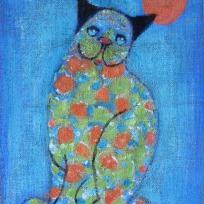 Peinture de chat sur toile de jute bleue