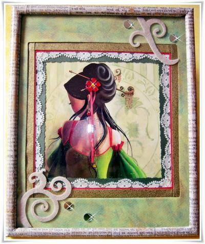 carte postale avec dentelle et journal en indi veillie la cire cr ation encadrement de isa. Black Bedroom Furniture Sets. Home Design Ideas