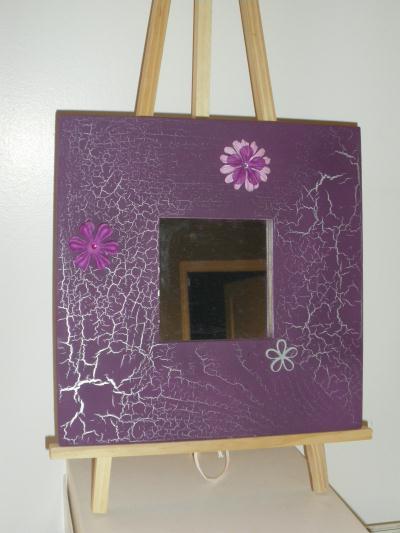 Miroir en bois peinture violet effet craquel argent for Peinture effet miroir