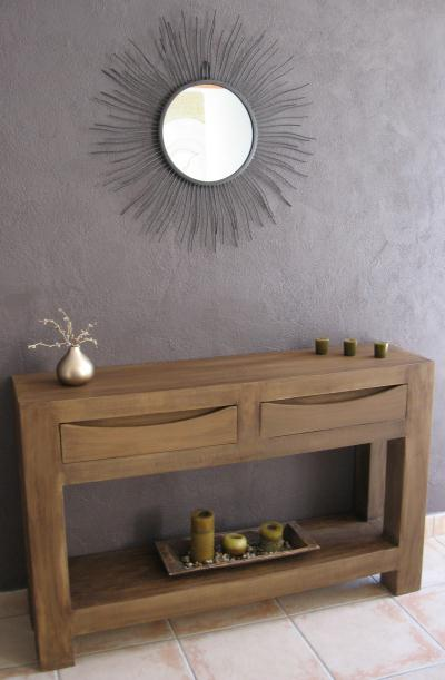 console en carton design effet bois cr ation meuble en carton de n 35 056. Black Bedroom Furniture Sets. Home Design Ideas