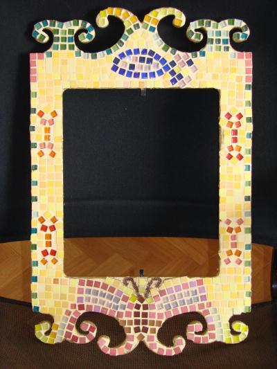 Miroir baroque jaune cr ation mosa que de cathou94 n for Miroir jaune
