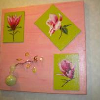 Tableau rose et vert