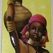 Portrait femme Africaine portant une jarre