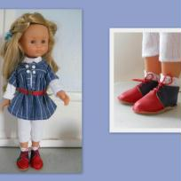 Tenue de collégienne et ses bottes rouges pour poupée