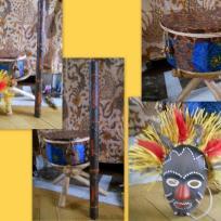 Tamtam, masque et bâton de pluie