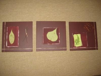 triptyque nature vert marron chocolat cr ation home d co et miroir de fanny35 n 37 623 vue. Black Bedroom Furniture Sets. Home Design Ideas
