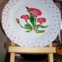 Assiette porcelaine peinte fleurs