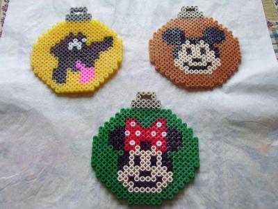 Boules de Mickey, Minnie et Pluto perles hama
