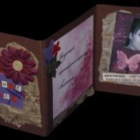 Carte chocolat qui s'ouvre avec ses fleurs et papillons