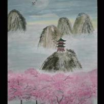 Paysage asiatique - arbres roses