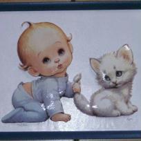 Bébé et son petit chat