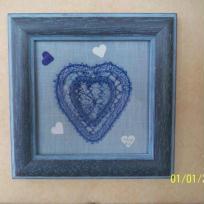 Coeurs  bleus et trio de coeurs bancs