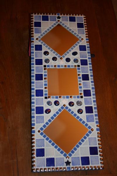 Cadre bleu au 3 miroirs cr ation mosa que de orchidee n for Miroir 2000 croix
