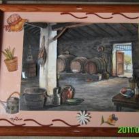 Cave ancienne et ses tonneaux de vin