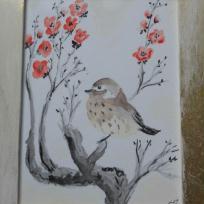 Peinture chinoise à l'aquarelle - prunus