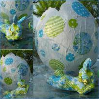 Oeuf géant et mini lapin de Pâques