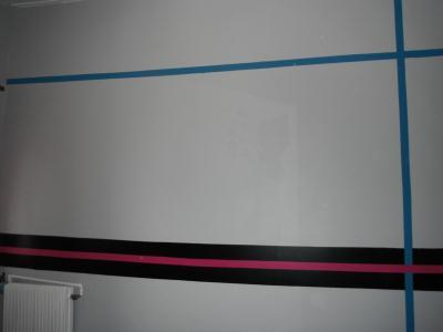 Mur chambre gris noir rose et turquoise - Création Home ...