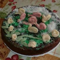 Gâteau au chocolat et pâte d'amande