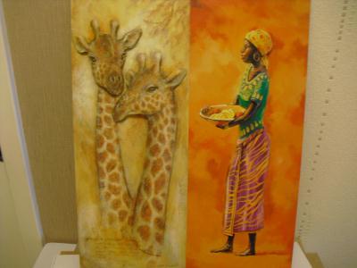 tableau de girafe et femme africaine cr ation image 3d de marylene623 n 41 618 vue 2 599 fois. Black Bedroom Furniture Sets. Home Design Ideas