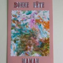 Carte de fête des mères - peinture à doigts