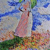 Femme avec ombrelle_influence Claude Monet.