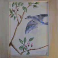 Aquarelle d'inspiration chinoise : L'oiseau bleu