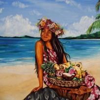 Tahitienne au panier de fruits