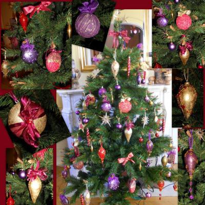 Mon Noël Baroque : le sapin rouge, violet et Or - Création ...
