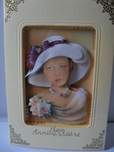 carte 3d portrait de femme pour un anniversaire cr ation carterie faire part de nelly7545 n. Black Bedroom Furniture Sets. Home Design Ideas