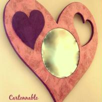 Miroir mural  ros en forme de coeur