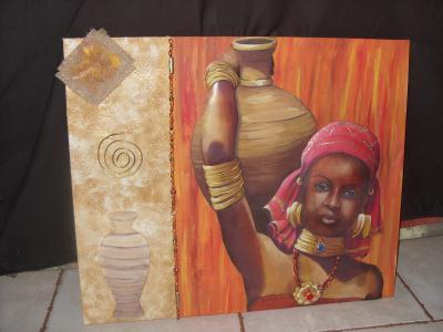 tableau 3d femme africaine porteuse de jarre cr ation image 3d de toun n 44 260 vue 2 648. Black Bedroom Furniture Sets. Home Design Ideas