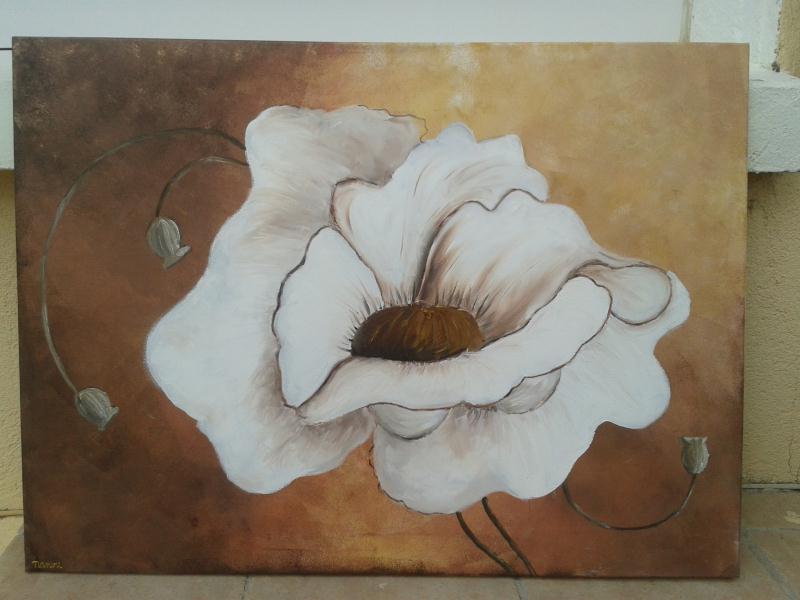 Tableau peinture fleur blanche cr ation peinture multi supports de les cartes de nanou n - Tableau triptyque fleurs blanches ...