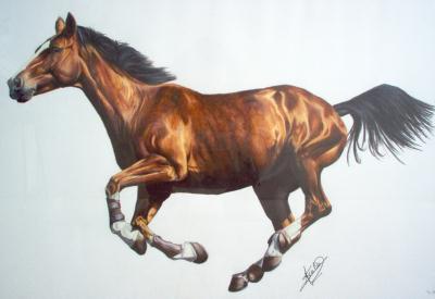 Dessin aux crayons de couleur cheval bai au galop cr ation beaux arts dessin de setmi n - Cheval dessin couleur ...