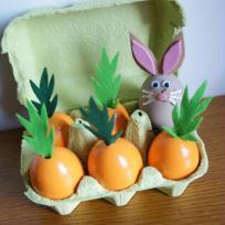 Lapin dans son champ de carottes